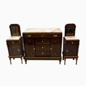 Italian Art Nouveau Bedside Tables and Dresser in Thuja Briar and Portuguese Pink Marble, 1920s, Set of 3