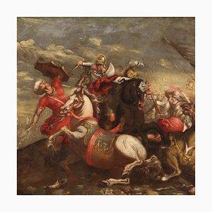 Batalla entre turcos y cristianos, pintura italiana antigua, siglo XVIII, óleo sobre lienzo enmarcado