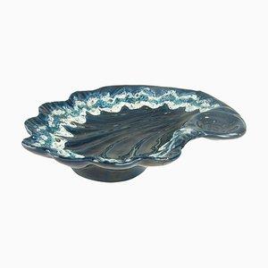 Vide Poche o plato de cerámica azul de Vallauris, France, años 70