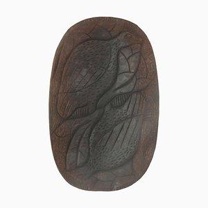 Vide Poche brutalista grande de madera en marrón, años 70