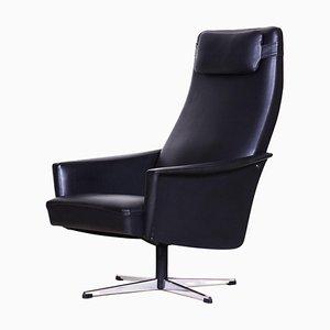 Black Faux Leather Armchair, 1960s