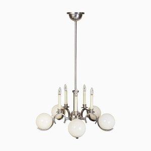 Lámpara de araña de níquel y latón, años 20