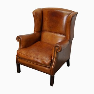 Dutch Cognac Colored Leather Wingback Club Chair