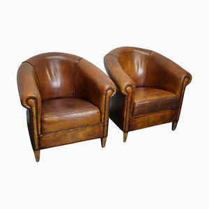Dutch Cognac Colored Leather Club Chairs, Set of 2