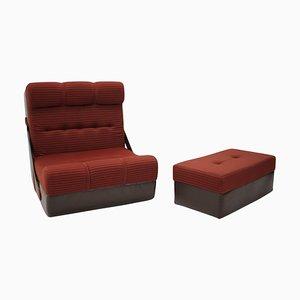 Butaca plegable Mid-Century y reposapiés o sofá cama, años 70