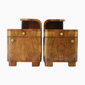 Art Deco Walnut Bedside Tables, Czechoslovakia, 1940s, Set of 2