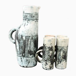Mid-Century Ceramic Pitcher and Drinking Cups by Jacques Blin, 1950s, Set of 5