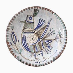 Französischer dekorativer Keramikteller von Le Mûrier, 1960er