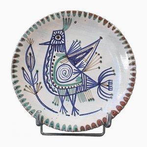 Dekorativer französischer Mid-Century Keramikteller von Le Mûrier, 1960er