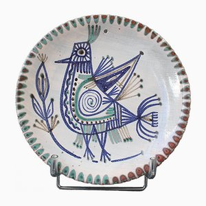 Mid-Century French Decorative Ceramic Plate by Le Mûrier, 1960s