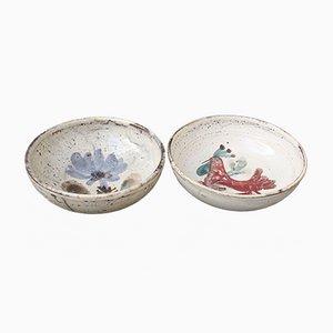 Cuencos Mid-Century pequeños de cerámica de Le Mûrier, años 60. Juego de 2