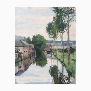 Pierre Duteurtre, The Charentonne River in Bernay, 1934, óleo sobre lienzo