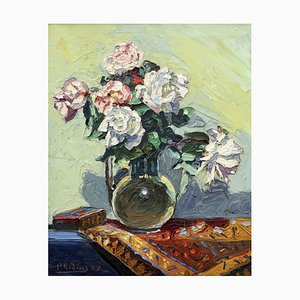 M. Phidias, Bouquet of Roses on a Table, 1922, Oil on Canvas, Framed