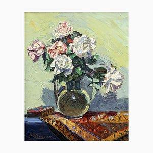 M. Phidias, Ramo de rosas sobre una mesa, 1922, óleo sobre lienzo, enmarcado