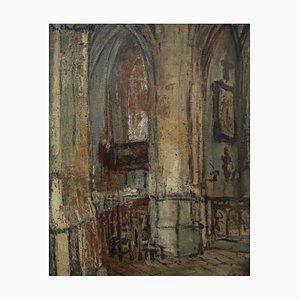 Jean-Charles Contel, Interior de iglesia, años 20, óleo a bordo, enmarcado