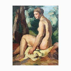 Charles Kvapil, The Bather, 1934, Oil on Board, Framed