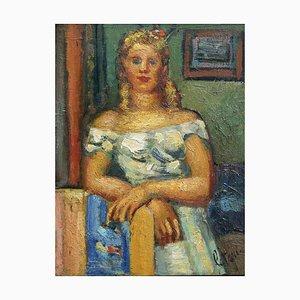 Louis Latapie, Portrait of Renee, 1941, Oil on Board, Framed