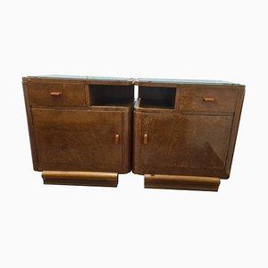 Art Deco Nightstands in Solid Wood, Set of 2