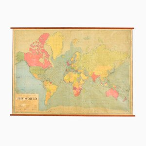 Large Vintage World Wall Map by Philips