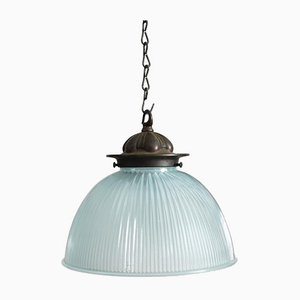 Antike Holophane Lampe aus blauem Glas