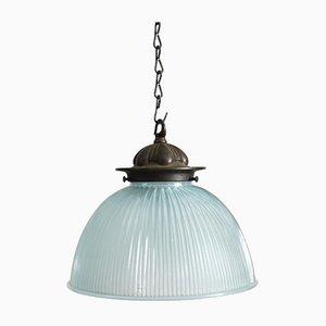 Lámpara Holophane antigua de vidrio azul