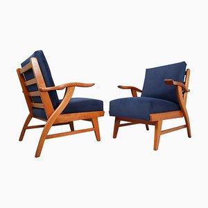 Sessel mit skulpturalen Eschenholz Gestellen, 1960er, 2er Set