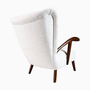 Italian Sculptural Wing Chair in Walnut & Bouclé Wool Fabric