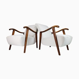 French Sculptural Armchairs in Oak and Boucle Wool Fabric, Set of 2
