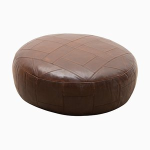 Large Round Brown Patchwork Leather Pouf or Ottoman from De Sede, 1970s