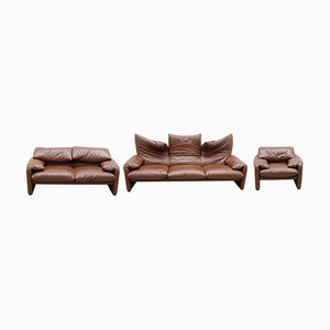 Maralunga Living Room Suite by Vico Magistretti for Cassina, Italy, 1976, Set of 3