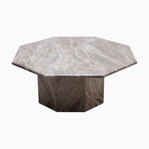 Mid-Century Italian Octagonal Pink and Grey Marble Coffee Table, 1970s
