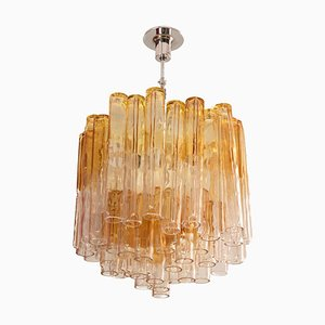Calza Chandelier in Glass and Chromed Metal from Venini, 1950s