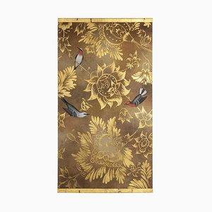 Pájaros y flores, óleo sobre lienzo