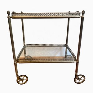 Neoclassical Brass Serving Trolley with Glass Plates