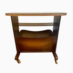 Mid-Century Side Table or Nightstand with Newspaper Rack