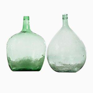 Damajuanas francesas de vidrio. Juego de 2