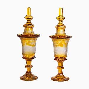 Tazas Bohemia, siglo XIX. Juego de 2