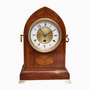 Edwardian Mahogany and Inlay Lancet Top Mantel Clock