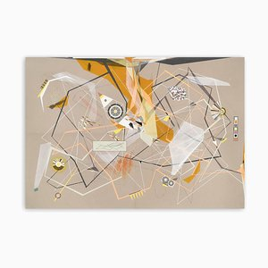 Dannielle Tegeder, Linear Momentum and Collisions, 2018, Gouache, Tusche, Farbstift, Graphit und Pastell auf Fabriano Murillo Papier