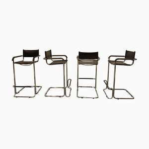 Vintage Chrome and Leather Barstools by Marcel Breuer, 1970s, Set of 4