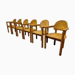 Pine Wood Dining Chairs by Rainer Daumiller for Hirtshals Savvaerk, 1980s, Set of 6