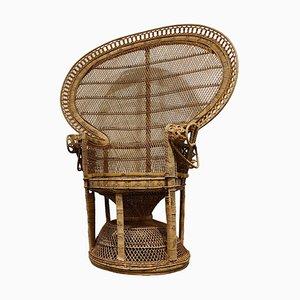 Vintage Wicker Peacock Chair, 1970s