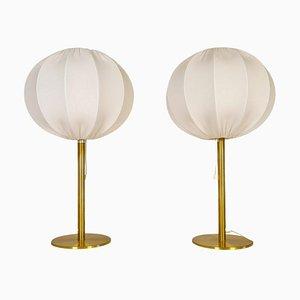 Lámparas de mesa Mid-Century modernas de latón de Luxus, Sweden, años 70. Juego de 2