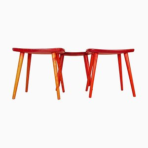 Palle Swedish Stools in Lacquered Red Birch by Yngve Ekström, 1970s