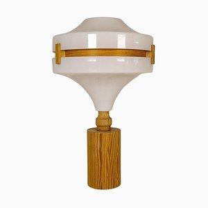 Lámpara de mesa Mid-Century moderna de pino y acrílico, años 70