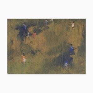 L. Maste, Danse au vent, 1954, Gouache & Pastel on Paper, Framed