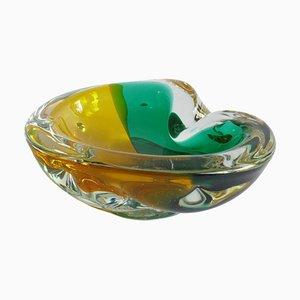 Cenicero o Vide-Poche Sommerso de cristal de Murano verde y amarillo, años 60