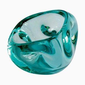 Aquamarinblaue Murano Glasschale oder Vide-Poche, 1960er