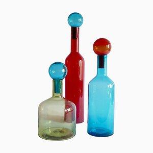 Botellas Mid-Century modernas de cristal de Murano en rojo, azul y verde. Juego de 3