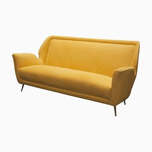 Sofá Mid-Century moderno de terciopelo amarillo, años 50